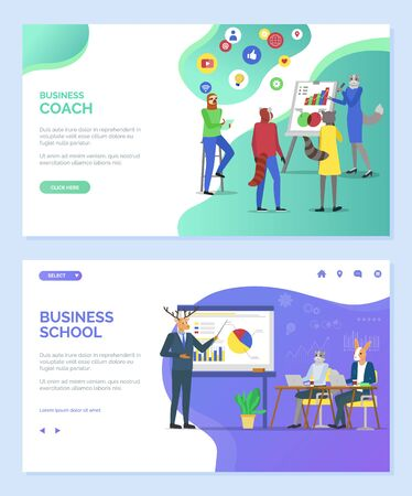 Business school vector, coach lady cat teaching students to cope with tasks and ideas, hipster animals deer giving presentation, listening seminar. Website or webpage template, landing page flat style
