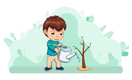 Kid with watering can caring for nature vector, ecology friendly child with tree. Environmental help of young boy, frondage and leaves gardening flat style