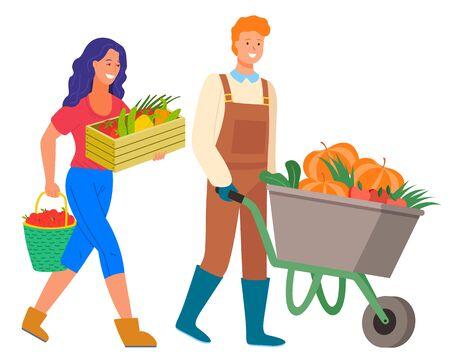 Vector de temporada de cosecha, hombre y mujer aislados con productos frescos. Trabajadores agrícolas con carro y calabazas, tomate y zanahorias. Dama con manzanas Ilustración de vector