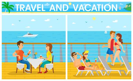 Travel and vacation on ship, couple sitting at table, man and woman in swimsuit lying on chaise lounge. Cruise with tourists, cloudy sky, ocean view vector