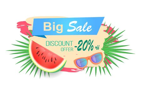 Big sale and discounts reduction of price isolated banner vector. Juicy watermelon with sunglasses and tropical leaves of plant. Reduced cost on goods Illustration