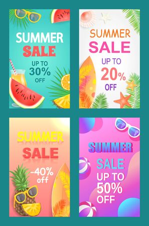 Summer sale vector, season discount leaflets set. Slices of watermelon, pineapple and orange, sun glasses, surfboard and starfish, shell and palm leaves, bunners for summertime business