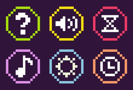 Pixel game graphics vector, isolated set of framed buttons, question mark and sound options, settings and hourglass, note and cogwheel pixelated music elements Illustration