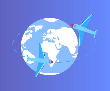 Traveling plane vector, isolated globe planet Earth with oceans and continents flat style with lines, aircrafts flying around world map, shipment delivery
