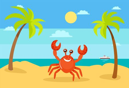 Coastal view, seascape vector summertime holidays vector. Crab character palm tree decoration, sunshine of beach, exotic sea water, ship on ocean water, funny smile crab on beach Illustration