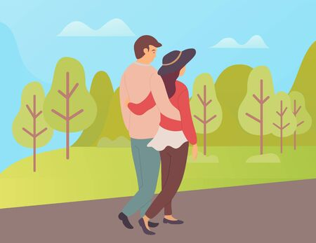 People in love cuddling and walking vector, boyfriend and girlfriend having calm and relaxing weekend on nature, trees and greenery of tranquil park Illustration