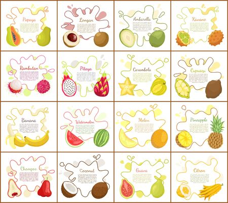 Papaya and citron kiwano set of posters vector. Banana and watermelon, pineapple and rambutan. Pitaya and ambarella tropical ripe fruits assortment Illustration