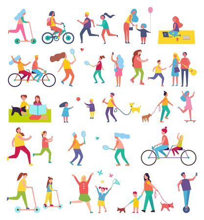 Couple running and riding bike isolated icons set. Butterfly cathing, working in park, walking dog, eating ice cream. People playing tennis vector Foto de archivo - 128234253