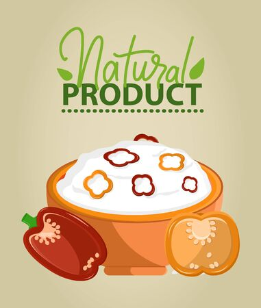 Natural product vector, porridge food prepared in bowl, vegetables or veggies bell pepper with seeds, paprika and seasoning of salad with mayo flat style, natural food for healthy lifestyle