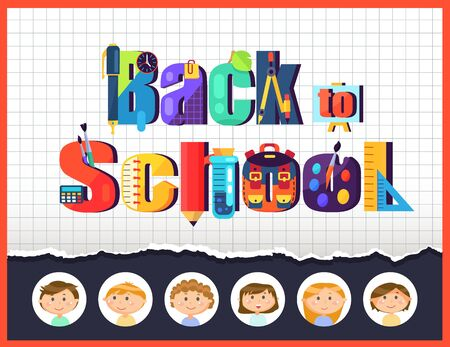 Notebook sheet and stationery, pupils children, back to school vector. Pencil and clipper, plant leaf and divider, easel and brush, calculator and flask, schoolboy and schoolgirl Standard-Bild - 128234255