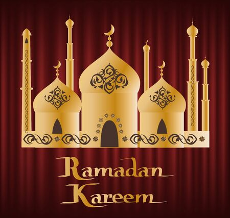 Ramadan Kareem greeting card, Muslims with arabic ornaments lantern and moon on golden elaborate domes, arabic festive, red wallpaper, culture vector 일러스트