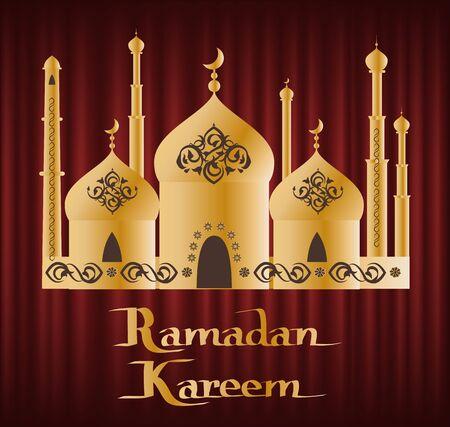 Ramadan Kareem greeting card, Muslims with arabic ornaments lantern and moon on golden elaborate domes, arabic festive, red wallpaper, culture vector Illustration