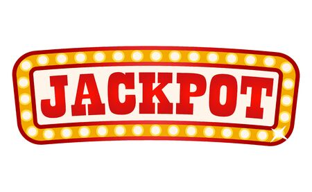 Retro banner with inscription vector, jackpot in casino flat style. Poster with shiny frame made up of bulbs. Playing games on money, gambling set Çizim