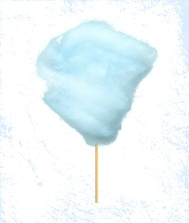 Sweet cotton candy of bilberry taste isolated on blue and white background. Vector confectionery, fluffy sugar summer dessert on stick, tasty food snack
