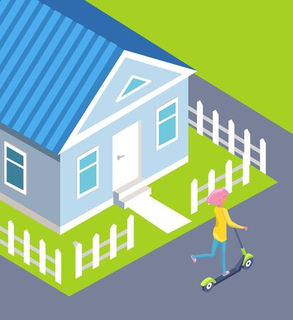 Teenage girl riding scooter vector, house with roof and windows, entrance door and path leading to road. Woman using ecological transportation flat style