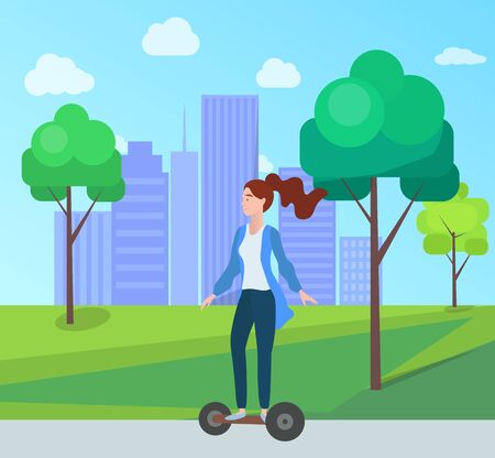 Woman riding on electric scooter in green city park with trees and houses on background. Vector cartoon style girl on self-balancing board, new hoverboard gadget 일러스트