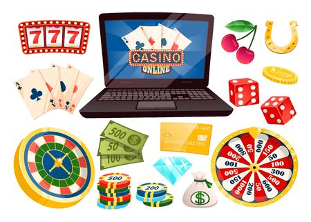 Gambling and playing on money online vector, isolated laptop with cards. Dive and horseshoe, cherry and 777 numbers, roulette and banknotes, coin and chips. Objects for casino game Illusztráció