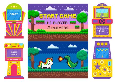 Screen of start and over game, gambling colorful machine, race and space war. Duel of dragon and unicorn heroes, dark view of platform, player vector, gaming pixel 8 bit computer machinery Banque d'images - 128234414