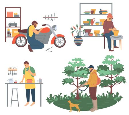 People with hobbies vector, interest of man repairing motorbike in garage. Pottery making pots from clay, cooking from vegetables, hunting with dog pastime