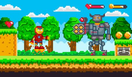 Pixel Art 8 Bit Game Ranger Or Robot And Minotaur Fighting Old