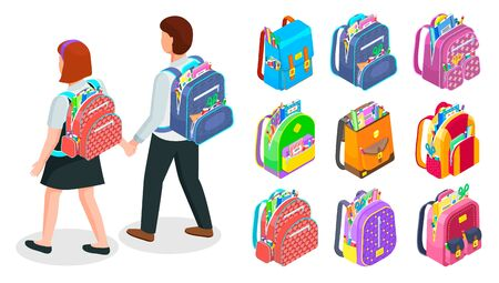 Pupils walking holding hands. Set of colorful backpacks filled with supplies like ruler, pencils, pens. School equipment and accessories vector illustration. Isometric 3d rucksack. Back to school Standard-Bild - 128099323