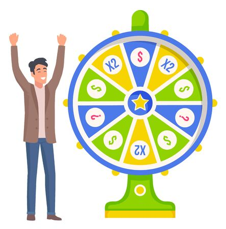 Smiling man winning jackpot in roulette machine. Happy player character standing near fortune wheel, business success in casino equipment, prize vector