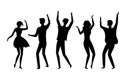 Clubbers vector, silhouette of isolated people having fun in clubs, dancers flat style man and woman moving bodies and raising hands up partying youth Stock Illustratie