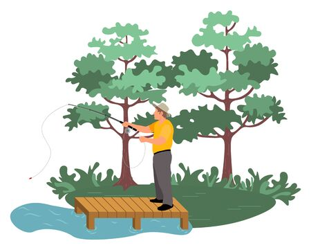 Man standing on bridge and fishing, green nature and lake. Full length view of fisherman in casual clothes holding fishing-rod, hobby outdoor vector
