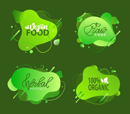 Fresh vegan food label, green poster natural and herbal product, 100 percent organic, healthy product, set of emblem, market sticker vector. Menu on green abstract watercolor lable