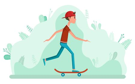 Boy skateboarding, hobby and activity with skateboard. Teenager wearing casual clothes and cap standing on skate, urban sport, going person, trick vector