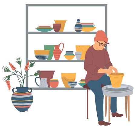Portrait view of sitting potter making form of bowl. Person molding clay pot. shelf with handmade crockeries and plant, man indoor, craft hobby vector Illustration