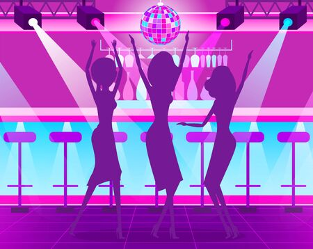 Shadow of dancing women near counter bar with cocktails, disco ball and light. Hen-party of females in night club in purple color, celebration vector