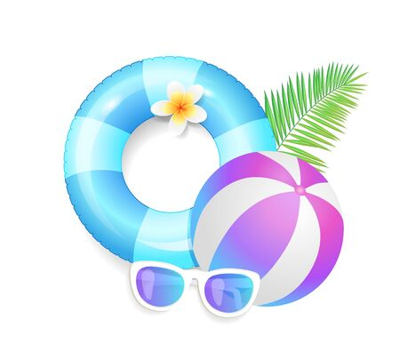 Summer season exotic vacations icons set vector. Rubber lifebuoy and inflatable stripped ball for games. Leaf of tropical plant and sunglasses flowers Illustration