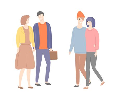 Male and female in love, guy with suitcase, people in casual cloth walking and flirting. Cartoon man and woman holding hands vector isolated couples