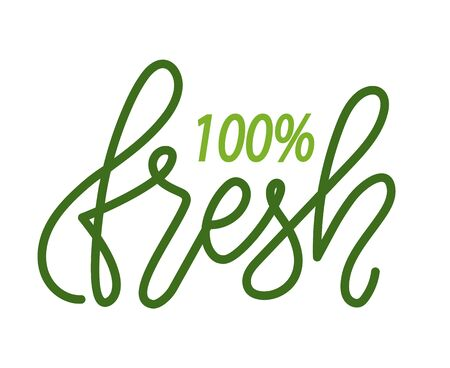 100 fresh isolated green design. Vector super quality product, vegetables and fruits of high level premium grade,  grocery shop, bio nutrition Illustration