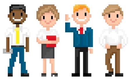 Man and woman pixelated graphics of 8 bit game isolated character of pixel game, mosaic representation, Afro American and Evropean personages, friends spending time together, for business or education
