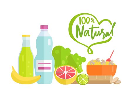 Natural food 100 percent organic vector, grapefruit and banana, bottle of fresh water, leaves and lime porridge in bowl served with spoon, dishes Illustration