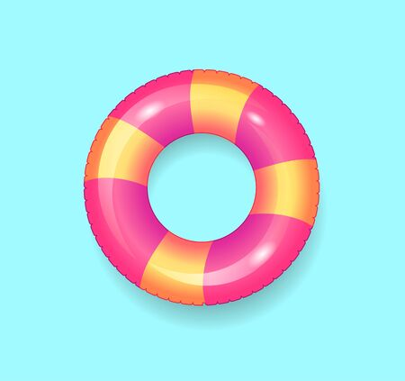 Lifebuoy saving ring isolated icon vector. Inflatable rubber item for people, protects from drowning by seaside. Summer supporting and protective item