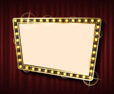 Retro illuminated golden empty picture frame on red background. Electric Glowing Element. Vintage room decor. mirror with neon light bulbs vector