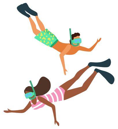 Schnorchelnde Leutevektor, Mann und Frau, die spezielle Ausrüstung tragen. Taucher unter Wasser, schwimmende Männer und Frauen mit speziellen Tauchmasken im flachen Stil. Sommeraktivität
