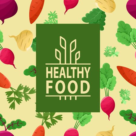Healthy food vector, vegetables on background of pattern made of veggies, carrots and beetroots, radish and foliage of plants flat style poster, dieting nutrition