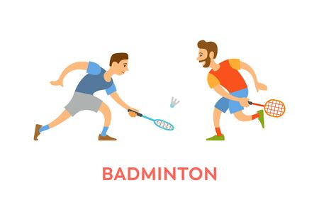 Players of badminton vector, men wearing summer clothes holding rackets hitting ball isolated characters in sportive mood. Competitors on tournament Иллюстрация