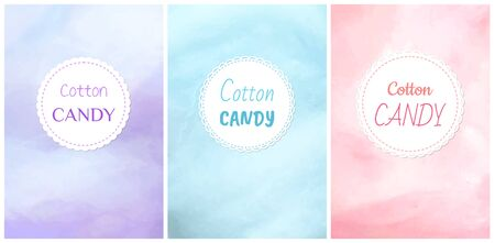 Cotton candy round label, poster or cover with circle sign, colorful advertising with dessert, snack symbol in flat design style, yummy decoration vector