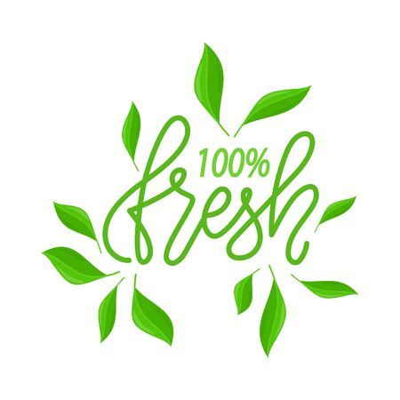 Fresh and organic eco ingredients vector, isolated green design with inscription and foliage. Lettering and leaves of plants and ecological elements flat style 일러스트