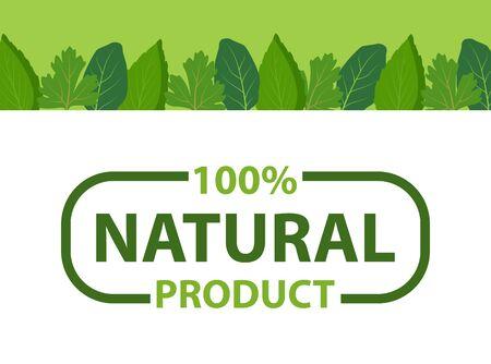 Küchenkräuterrahmen und Ökoprodukte, organisches Design von Kosmetika, Lebensmitteln, Medikamenten. Vektornaturprodukt mit 100-prozentiger Garantie im Rahmen isoliert