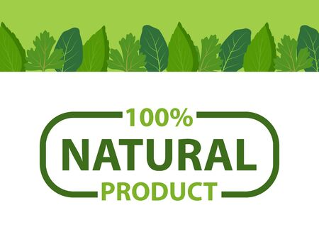 Kitchen herbs framing and eco products, organic design of cosmetics, food, medicines. Vector natural product with 100 percent guarantee isolated in frame