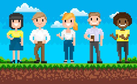 Group of man and woman characters standing on grass, portrait view of smiling superheroes, pixel game, team on adventure platform, choose hero vector. People for pixelated 8 bit games Illustration