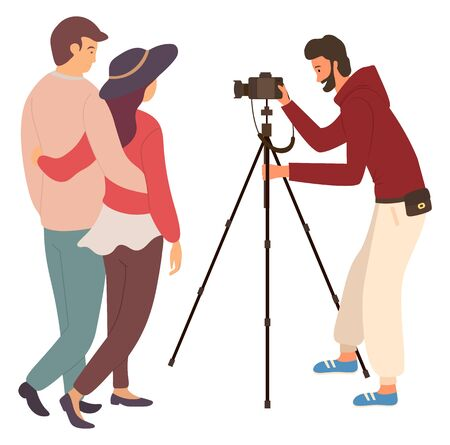 Photosession of couple, man shooting videos or photos by camera on tripod, isolated male journalist or photo-correspondent. Vector job of photographer Çizim