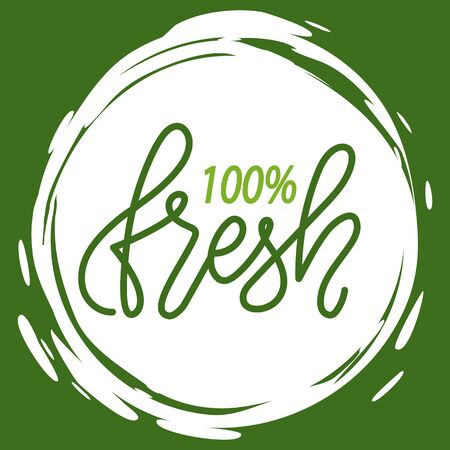Fresh vegan food label, green poster natural and herbal product, 100 percent organic, healthy product, set of emblem, market sticker vector. Menu on white abstract watercolor lable