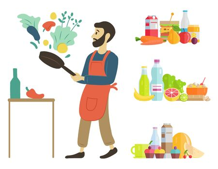 Man at home cooking dishes vector, hobby of person food and ingredients. Water and watermelon juice and meal parsley and paprika, vegetables fruits. Male preparing dinner from veggies with help of pan